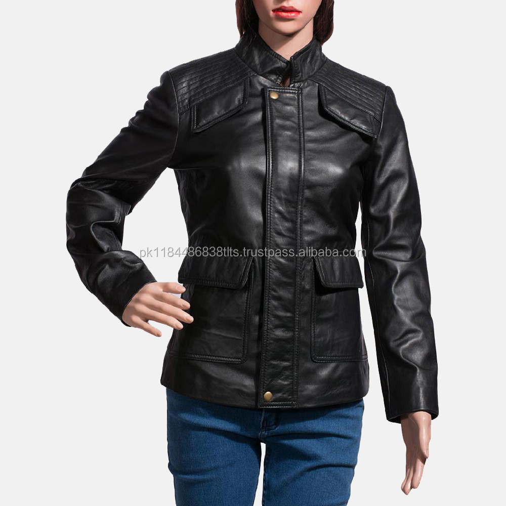 Women beautiful pu leather jacket