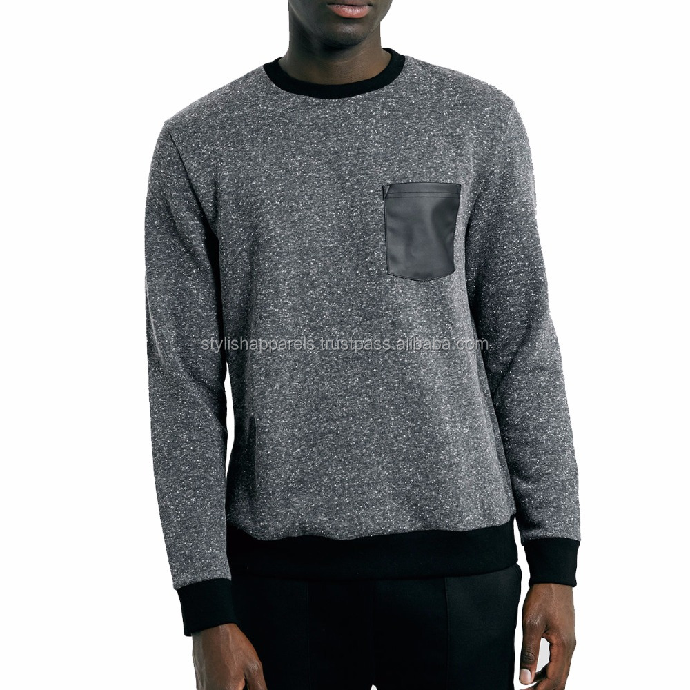 crewneck with PU leaher pocket / Custom Sweatshirts / Get Your Own Designed Hoodies & Sweatshirts From Pakistan