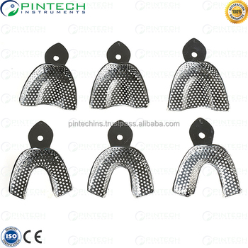Dental Impression Trays Set of 6 Stainless Steel Perforated Autoclavable