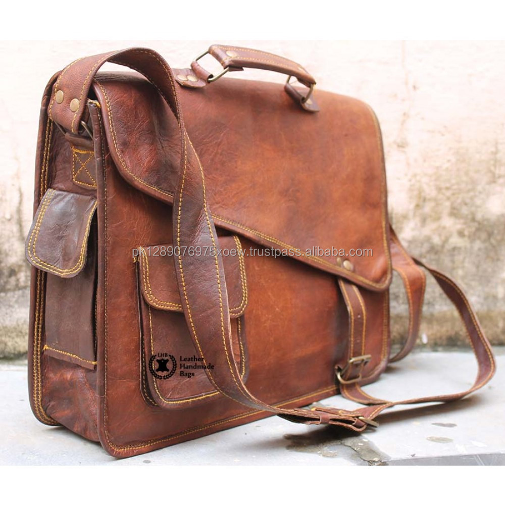 New Men Real Goat Leather Vintage Brown Messenger Shoulder Laptop Bag