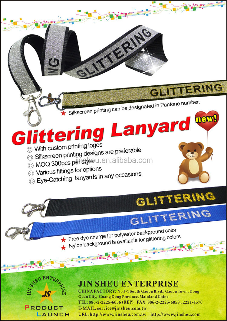 Wholesale custom sparkling glitter id badge holder lanyard