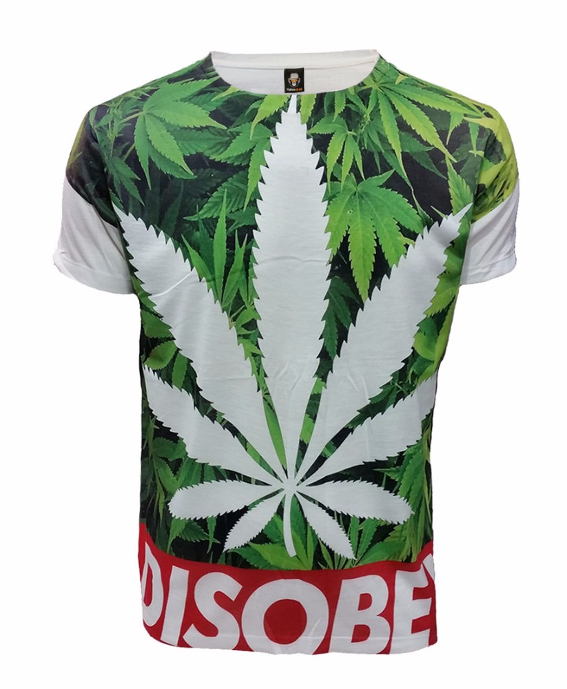 SUBLIMATION FRONT PRINT T-SHIRT/ Leaf/Swag Dope/Disobey Weed/Top