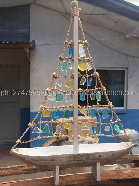 Handmade Driftwood Boat with Seaglass accent