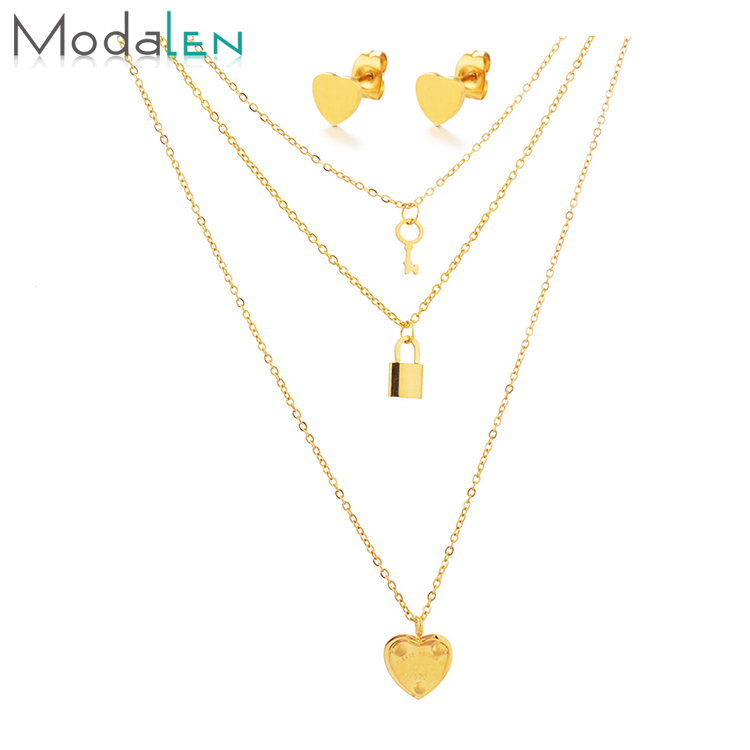 Modalen Heart Locket and Key Multi Layered Necklace Stainless Steel Jewelry <strong>Set</strong>