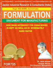 formula document for Dish Wash Detergent for China Dishes in Soft as well as in Moderately Hard Water