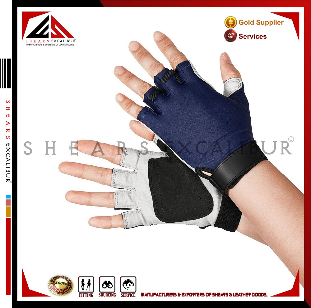 Hot Sell Spandex & Amara-Synthetic Leather Non-slip / Cycling Fishing Outdoor Sports Fingerless Sun Gloves