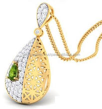 Gold pendant designs for women wholesale jewelry peridot diamond pendant