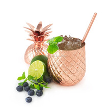 24 OZ-STAINLESS STEEL PINEAPPLE TUMBLER COPPER-FINISH COCKTAIL MUG W STRAW
