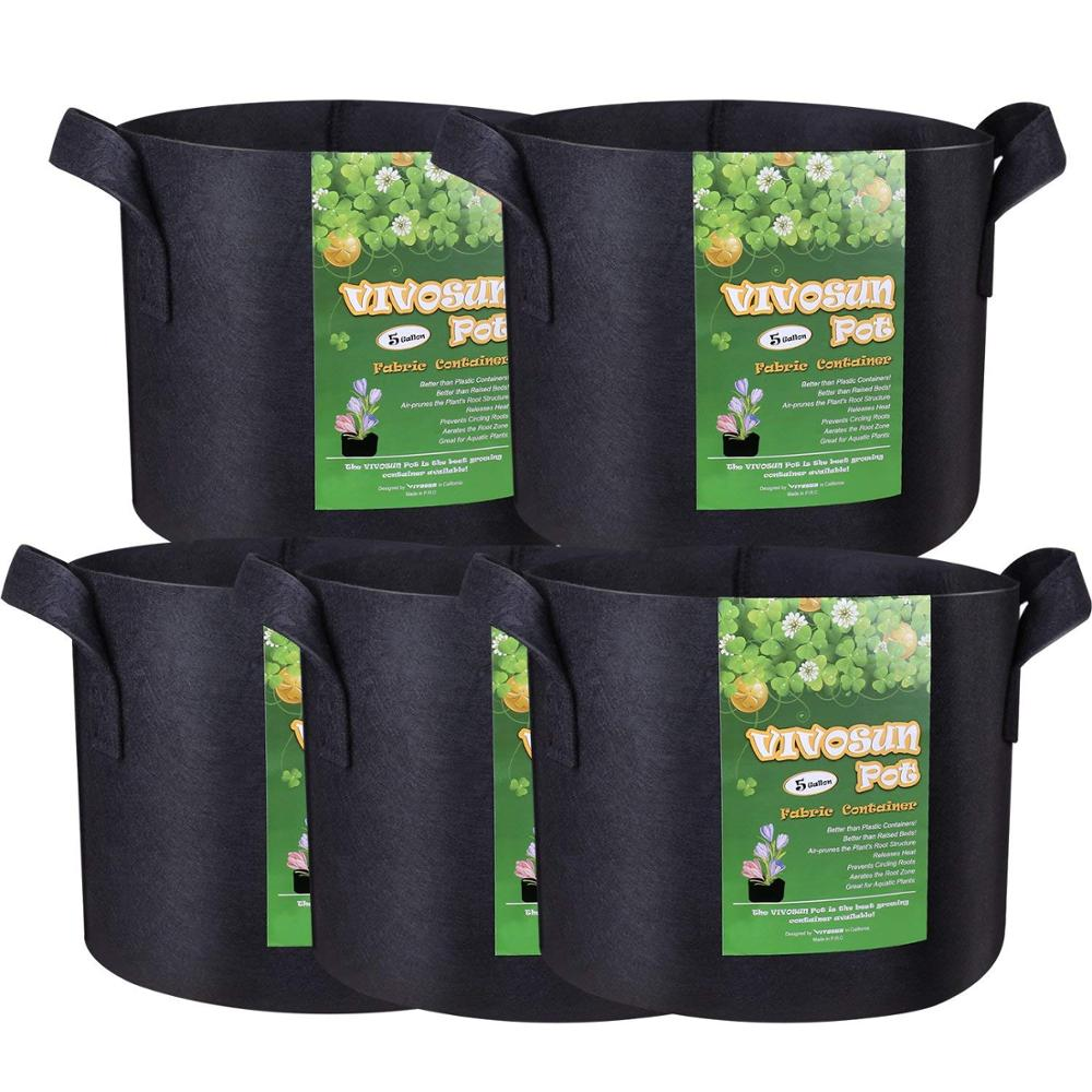 5 Pack 3 gallon 5 gallon 7 Gallon Planter Grow Bags Aeration Fabric Pots Garden Potato felt grow bags
