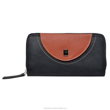High Quality Multi Card Slot Saffiano Leather Ladies Purse Black & Brown