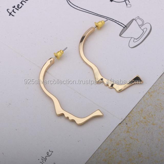 High Quality Face Design Gold Plated Designer Stud Women Earrings
