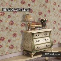 pvc vinyl flower waterproof wallpaper designs for home decoration