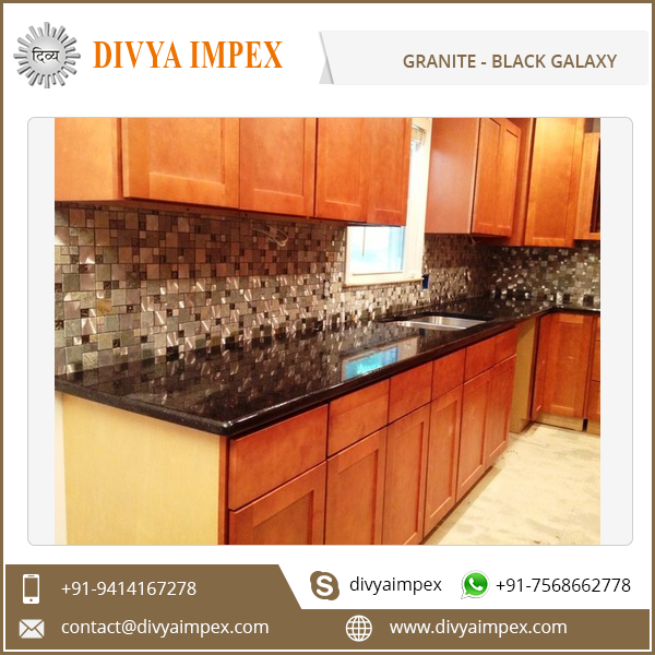 Natural Polished Black Galaxy Granite Kitchen Countertop