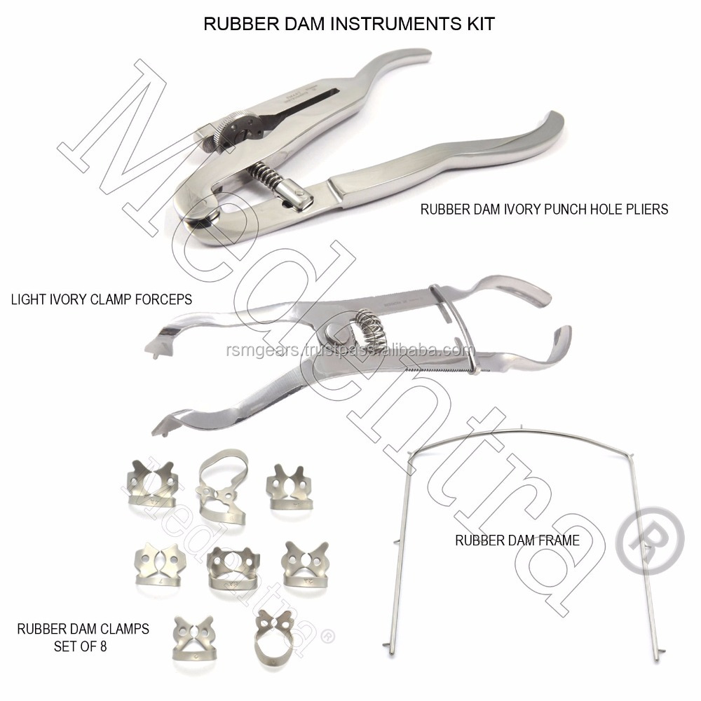 MEDENTRA Rubber Dam Kit Clamps Punch Forceps Ivory Light Clamp Pliers Frame Try it, then Buy it