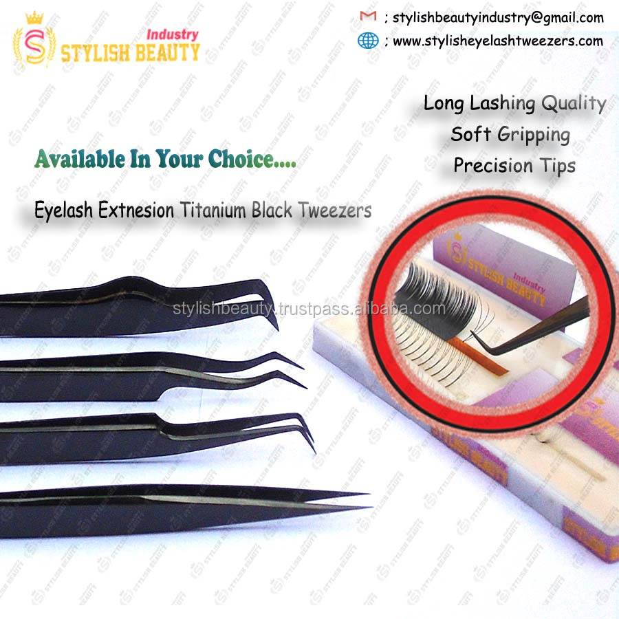Eyelash Titanium Black beautiful Tweezers precision Tips High quality tweezers by Stylish Beauty Industry Pakistan