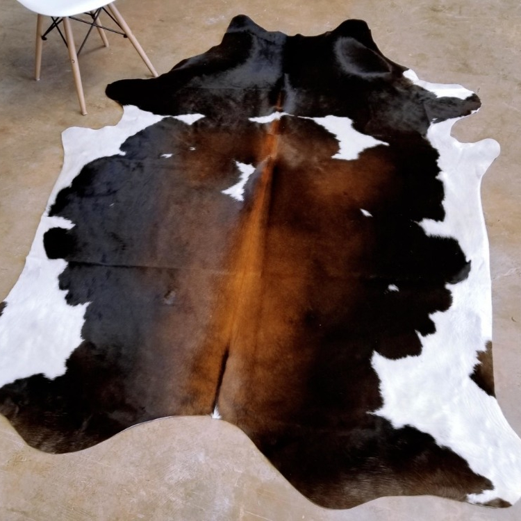 Pure Cowhide Rug Natural Brown White Cow Hide Area Leather Rug