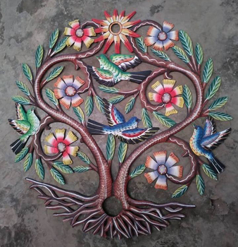 Metal Flowers Sculpture Colored Tree of Life Wall Art Decor with Birds Ideas Handmade Haitian Crafts, 60cm