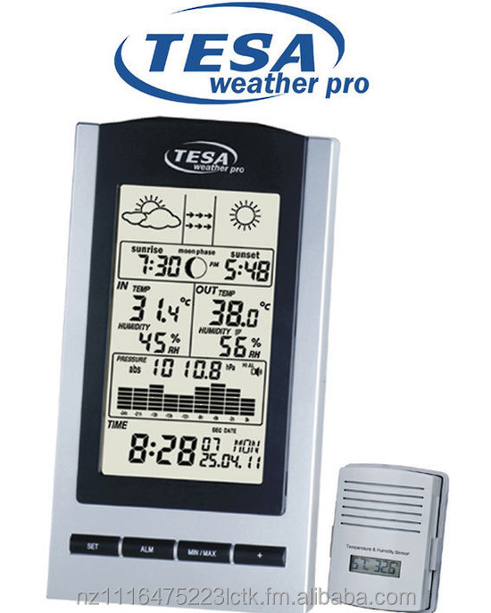 WS1151 TESA WEATHER PRO WIRELESS MOON PHASE WEATHER STATION WITH BAROMETER