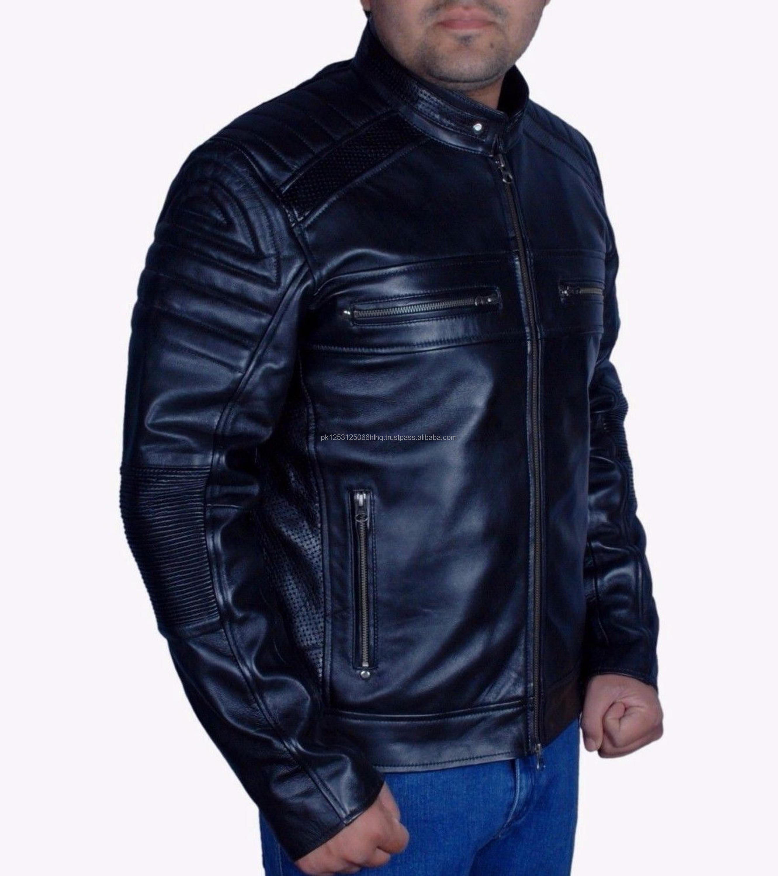 Cheap custom men motorbike textile leather jacket