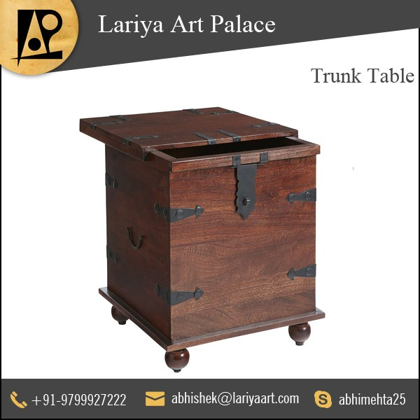 Sturdy Material Made Wood Trunk Table Manufacturer