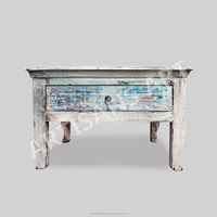 Whitewashed Reclaimed 1 Drawers Coffee Table, Hand Finished Antique White washed, white distressed Wooden Indian Furniture