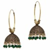 Green Color Beads Jhumka Earrings For Girls & Women