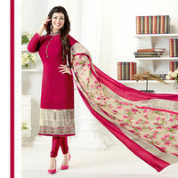 New Designer Pink Color Embroidery Dress Material