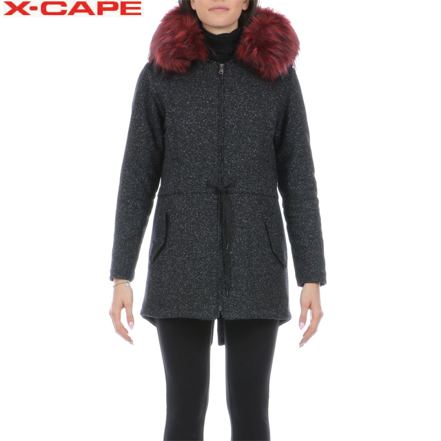 Made in Italy Woman Parka Jacket with colored eco-fur hoodie