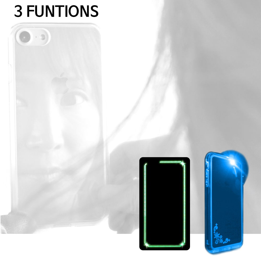 3 FUNCTIONS Mobile accessories case Transparent Mirror+Night glow+LED Luminosity