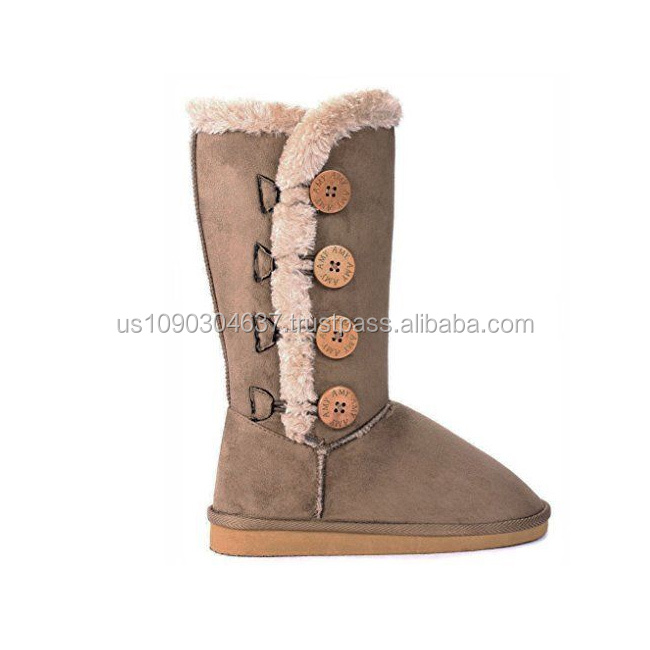 Women and Kids Wooden Button Faux Fur Lined Shearling Mid Calf Winter Boots