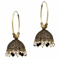 Partywear Special Black & White Color Beads Jhumka Earrings