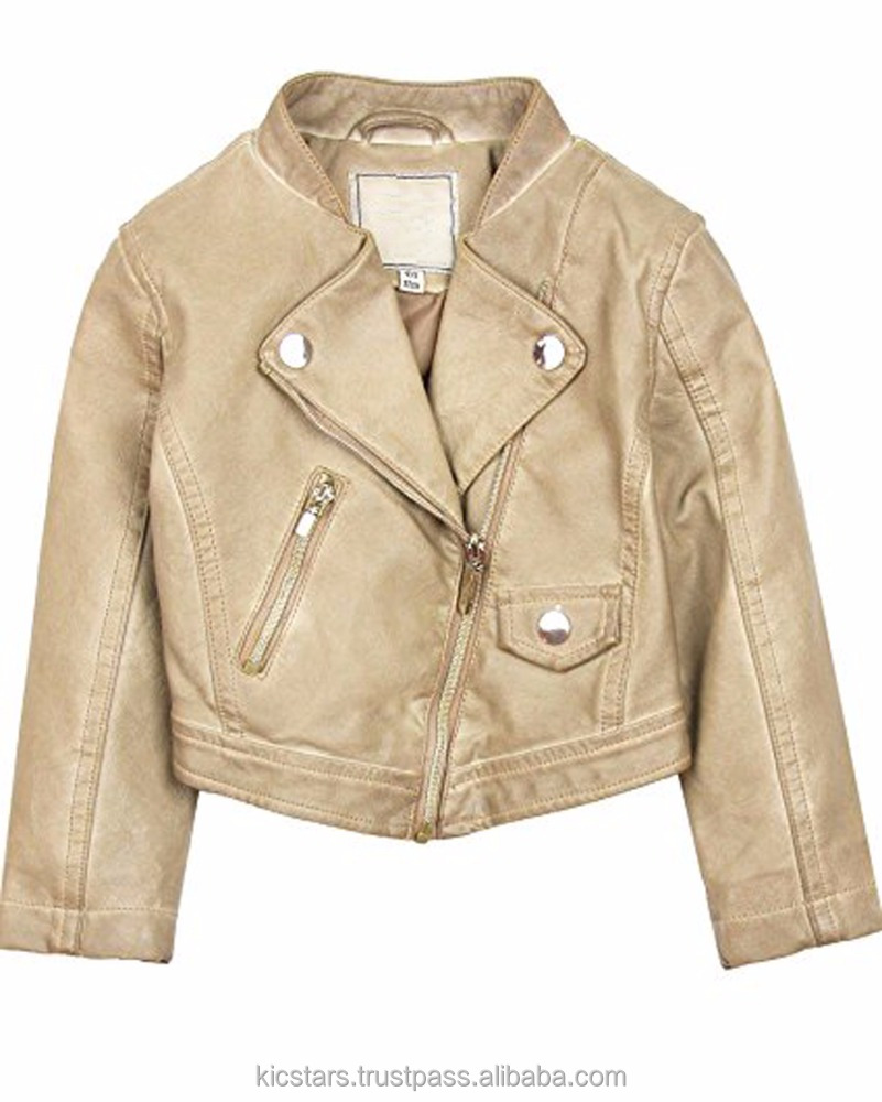 Biker style leather jacket For Kids