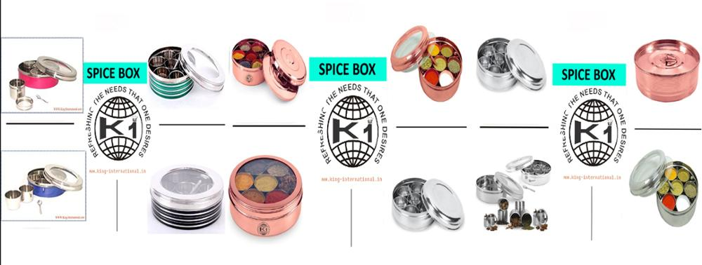 Stainless steel spice box/ see thru spice Coloured storage Box / Masala Coloured storage Box