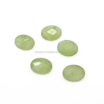 Green aventurine semi precious 8x6mm oval Checkerboard cut 1.10 cts loose gemstone for jewelry