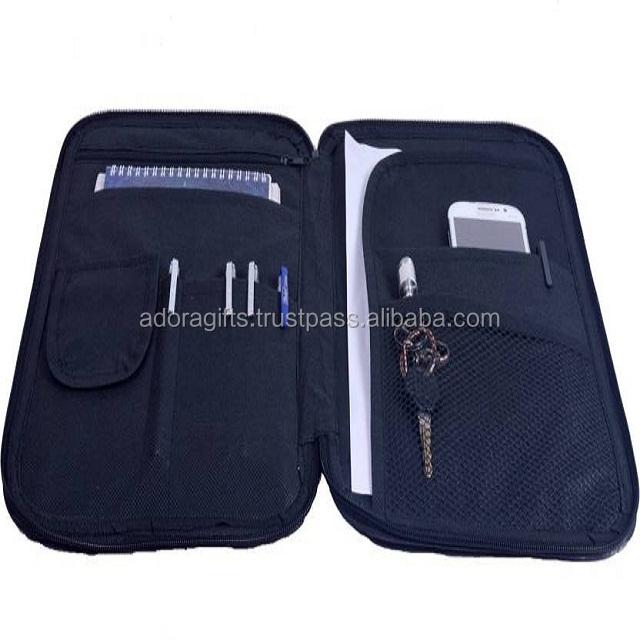 A4 zipped conference file folder with mobile holder and key holder portfolio