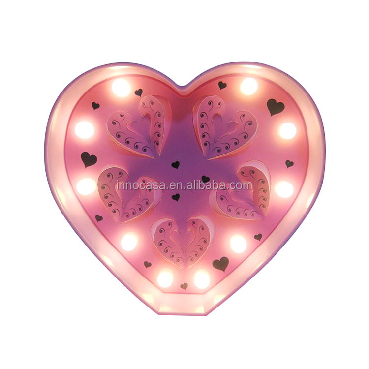 Novelty Gift Light Up Kids Room Furniture Bedside Decorative Lamp Heart Shape LED Marquee Light with 3D Heart Die Cut