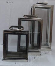 LANTERN WITH STEEL HANDLE / LANTERNS FOR CANDLES / DOUBLE PILLAR CANDLES LANTERN