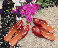Indian Real leather Handmade Red Color Casual Ladies Juti