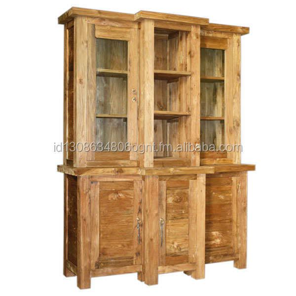 Kitchen Cabinet Design Rustic Teak Wood Glass Combination Jepara Indonesia Timber Furniture