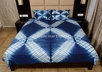 Indigo Dyed Cotton Bedspread Shibori Indian Bedcover Bohemian Bedding Set