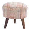 Stripe Embroidered Wooden Round Stool Ottoman With 3 Wood Legs