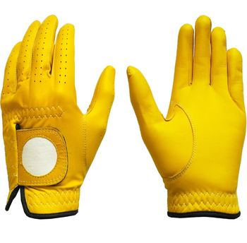 New Golf Glove Color Yellow Full Leather