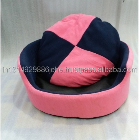 Round cushion Polyester Pink-Navy Blue Luxury Double Side Dog Bed