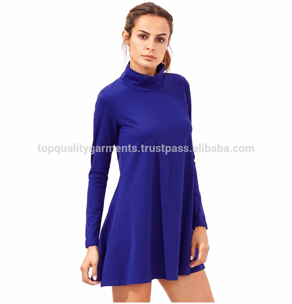 Tshirt Dress Top Frock Plain Blue Long Sleeves Customize High Quality 100% Cotton Casual Summer OEM Wholesale 2018