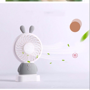 cute bear rabbit Mini Portable Hand-held Desk cooling air Fan USB Rechargeable with colorful LED Light Electric Fan