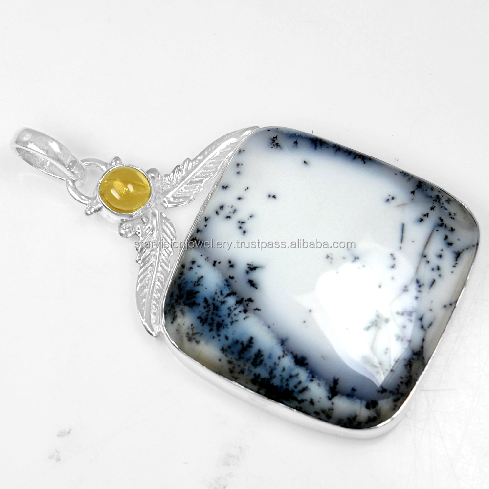 925 Sterling Silver Jewelry Dendrite Opal Citrine Sterling silver Gemstone Pendant
