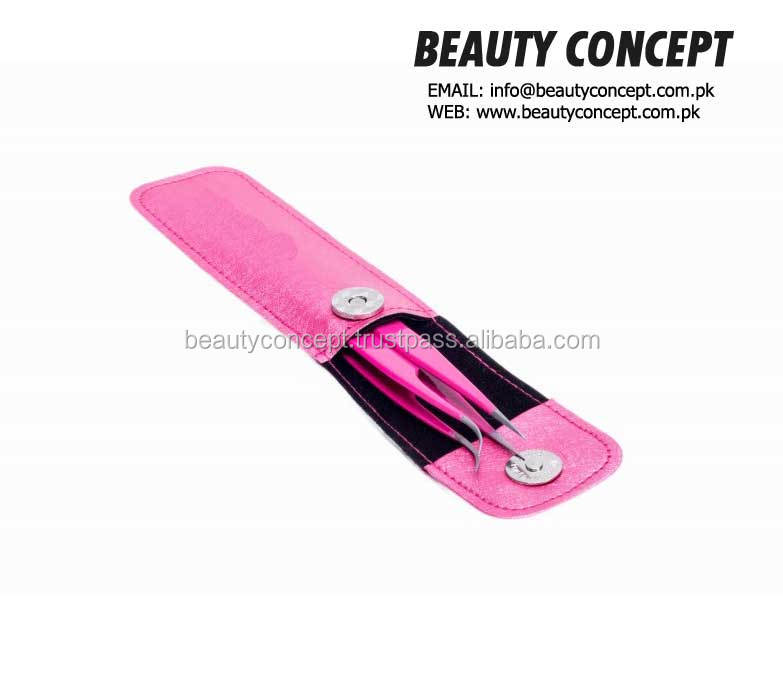 Pink Lash Tweezers Set with Leather Case/ Magnetic Closure Case For Eyelash Extension Tweezers