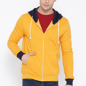 Custom Logo Fleece Zipper Hoodies Contrast Color Hooded Top Yellow Solid Hooded Sweatshirt
