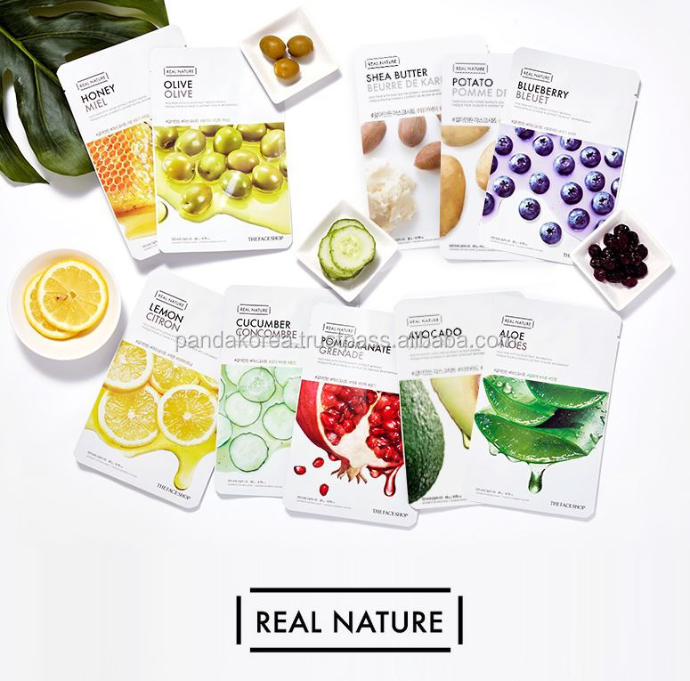 [The Face Shop] Real Nature Mask Cucumber, lemon, rice, olive, avocado, honey, Acai Berry, Butter, Pomegrante