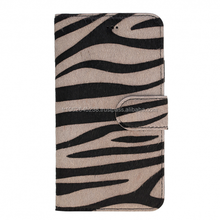 Zebra pattern leather phone cover case with credit card slots for iphone X